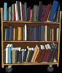 עגלת ספרים בספריה לסטודנטים עבור תרגום מעברית לאנגלית של מאמרים ועבודות