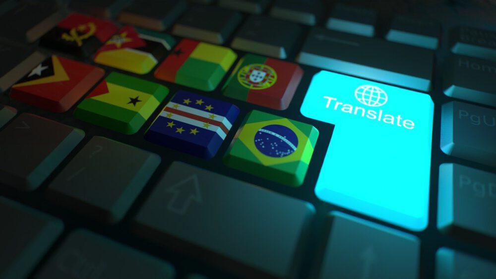 כפתור מקלדת עם הכיתוב תרגם לצד דגלים של מדינות שונות, תרגום לשפות שונות